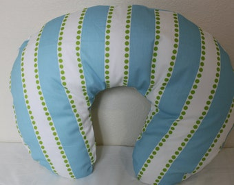 Boppy pillow cover, nursing pillow cover, breastfeeding pillow, stripes and dots.