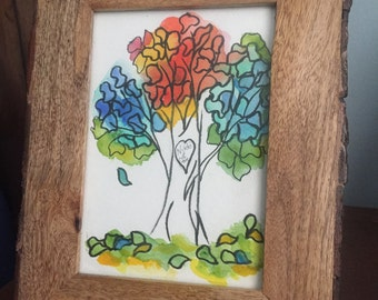 Watercolor Tree w/ Carved Sweethearts' Names
