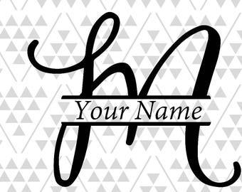 Monogram letter M, Split letter M, silhouette files, digital cut files, cricut files, adobe illustrator files, vector files, vinyl files cut
