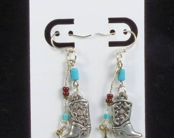 Fun Dangle Cowboy Boot Earrings are a Kick for Rodeo Cowgirl or a Citified Gal