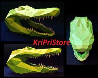 Alligator Head Papercraft.
