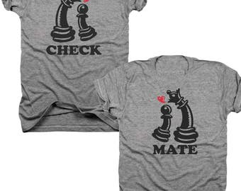 2-Pack Check Mate Cheese piece t-shirt set  (B037)