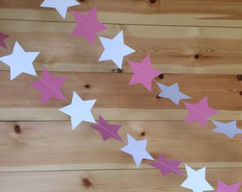 Pink and White Star Garland, Decor, Weddings, Party Decor, Baby Showers, Celebrations,