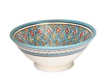 Safi Geo Serving Bowl, Blue
