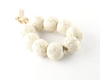 Blank clay beads rough white porcelain round beads with zigzag print set of 6 beads ErikMakesBeads