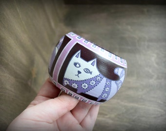 Wooden bracelet with a painted cute cats . White, purple, pink.