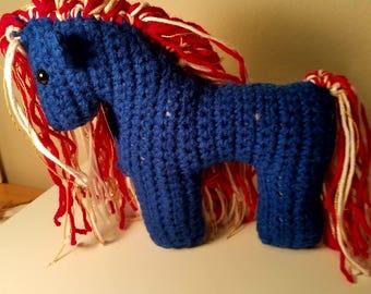 Americana Blue Crochet Horse Plushie