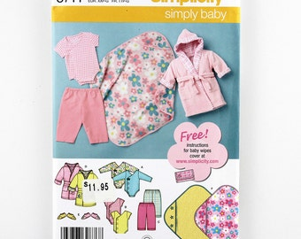 Simplicity 3711 Babies' Layette, Baby Blanket Pattern, Baby Body Suit Onesie, Pants, Robe, Booties Pattern,  XXS, XS, S, M, L Simply Baby