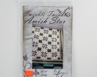 "Quilting Pattern, Twinkle Twinkle Amish Star, Size 59"" x 71"", Design By Lacey's Lovelies LL005"