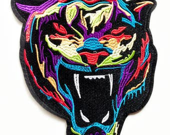 1x extra large roaring Tiger PATCH biker rock colorful bengal head face jungle wild Iron On Embroidered Applique for custom jacket
