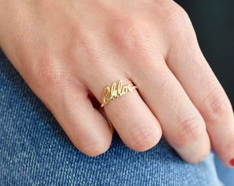 14K Gold Name Ring - Gold Ring - Name Ring - Name jewelry - Custom Name Ring - Bridesmaid Gift - Personalized Ring - Mother's Day Gift