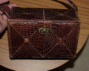vintage unikels of mexico purse/handbag lizard? skin