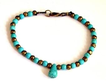 Minimalist chic boho bracelet beads and turquoise Teardrop bronze fine bracelet made by custom