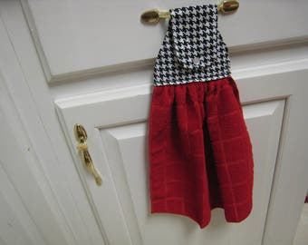 Red Towel with Houndstooth Top
