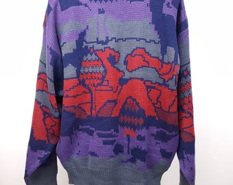 "90s Sweater Colorful Cosby ""Coogi""  Style"