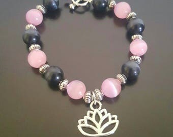 pink and black cats eye Lotus flower charm bracelet