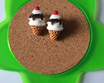 Handmade kawaii ice cream stud earrings
