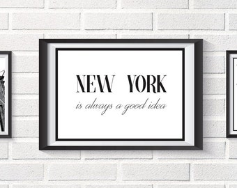 Poster quote new york, Scandinavian download illustration