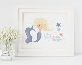 Mermaid Kisses and Starfish Wishes, Custom Name Sign, Mermaid Print, Mermaid Illustration, Mermaid Kisses, Nursery Wall Art, Name Sign, Kids
