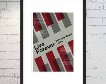 Live Forever Print / Oasis Art / Music Print / Framed or Unframed / Rock and Roll Poster / Definitely Maybe / Manchester / Liam Gallagher