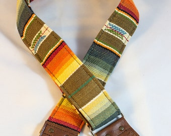 Southwest Multi Colored Saddle Blanket Fabric Guitar Strap