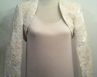 Vintage Womens Haute Naughty Clothing Co Floral Bolero Beaded Embroidered Flower Jacket / Size 10