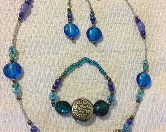 Home made beaded necklace set with matching bracelet and earrings
