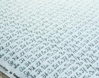 Cursive Handwriting Fabric designed by Samarra Khaja by the half meter