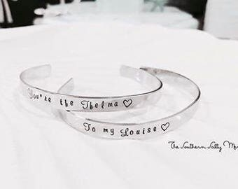 Thelma & Louise BFF Personalized Bracelet Cuff (Set of 2)