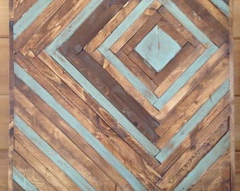 Rustic wood art  - touch of blue