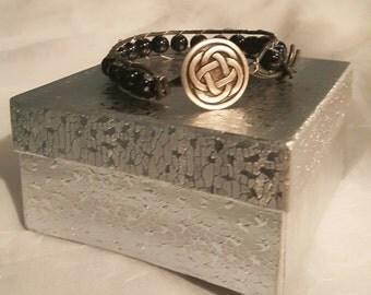 Celtic Black and Gray Leather Bracelet