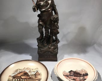 William Tell Statue with 2 Luzern Plates