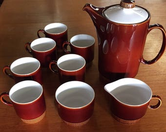 Coffee Set - Poole Pottery in chestnut (England)