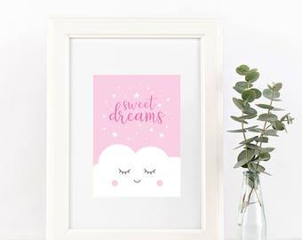 Dreams Nursery Art, Sweet Dreams Printable, Pink Baby Art, Sweet Dreams Nursery, Pink Nursery Decor, Baby Shower Gift, Nursery Wall Art