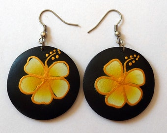 Painted wood plumeria Flower Earrings