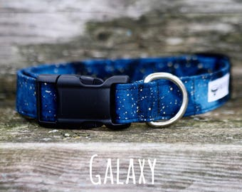 Dog Collar, Boy Dog Collar, Blue Dog Collar, Galaxy