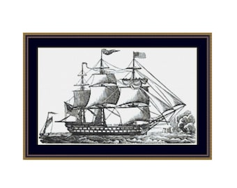 Sailing Ships cross stitch chart, Sailing Ships at Sea counted cross stitch chart, Sailing Ships counted cross stitch, PDF instant download