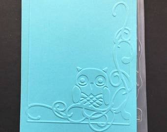 Cuttlebug Owl Flourish Embossing Folder / Owl Folder / Card Making / Scrapbooking / Arts and Crafts