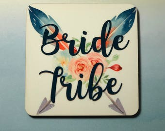 Bride Tribe Set of 4 Personalized Coasters w/ Cork Backing