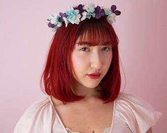 Dainty, Whimsical Flower Crown with Long Blue Ribbon
