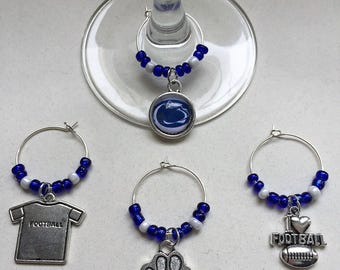 Penn State Blue and White Football Wine Charms