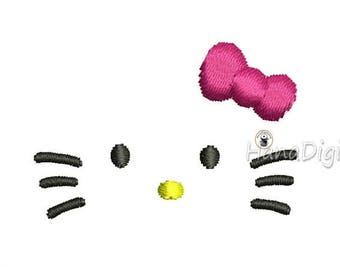Mini Hello Kitty Face Machine Embroidery Design 3 Sizes