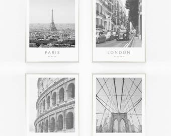 Print / Poster Set of 4, 'City Bundle', Wall Art, Modern, Wall Decor, Home Decor, Quote Print, London, Paris, Rome, New York