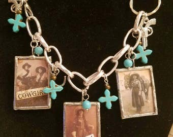 Cowgirl necklace / Western Jewelry / Cowgirls of the Old West / Turquoise / Vintage Photos / Birthday Gift / Pistol Charms / Leather Necklac