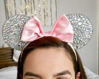 Pink Rhinestone Bling Minnie Ears | Mickey Ears |