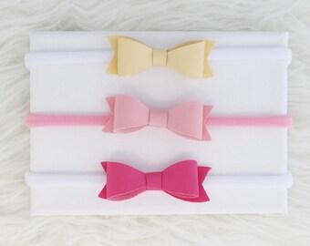 Baby Leather Bow Headband, Baby Headbands and Bow,  Baby Bow Headbands,  Baby Girl Newborn Headband, Baby Headband Bows, Bow Headband Set