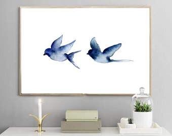 Two Birds, Print of original artwork by Amanda Steines, watercolor on paper, blue birds, white, modern, painting, minimal, romantic