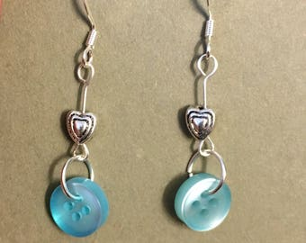 Blue button dangle earrings