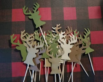 24ct. DEER HEAD Cupcake/Cake TOPPERS - Birthday Baby Shower