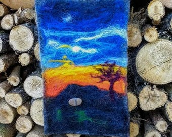 Felt picture of dusk, wall hanging, wall decor, fibre art